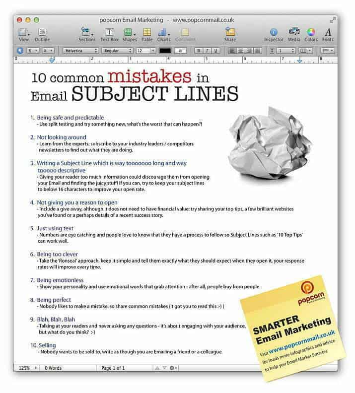 screenshot image of 10 common subject lines mistakes