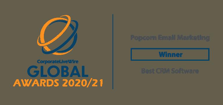 global awards 2020/2021 best crm software winner popcorn