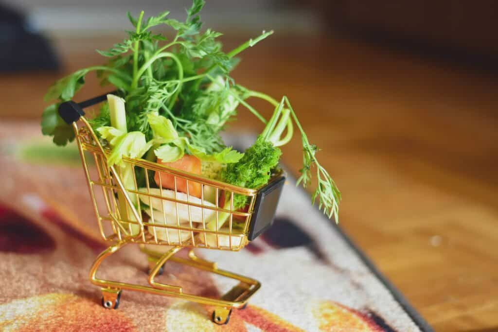 fresh vegetables in a shopping cart image for fill up your carts article customer retention PRM CRM